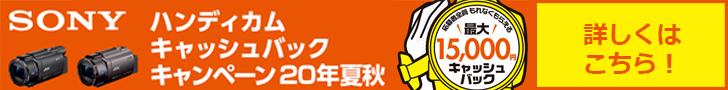 ソニー ハンディカム最大15,000円キャッシュバックキャンペーン 20年夏秋
